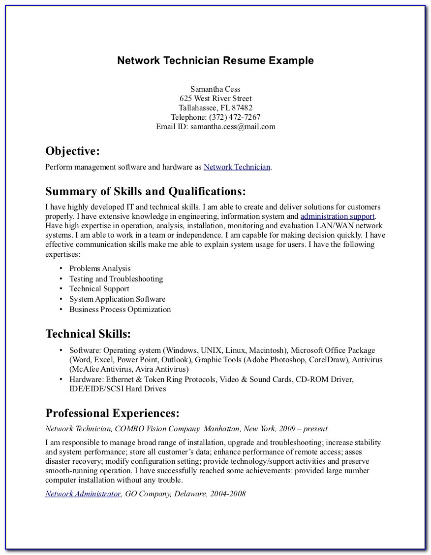 Pharmacy Technician Resume Pdf