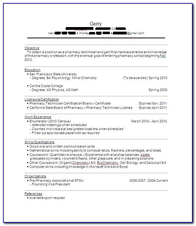 Pharmacy Technician Resume Responsibilities