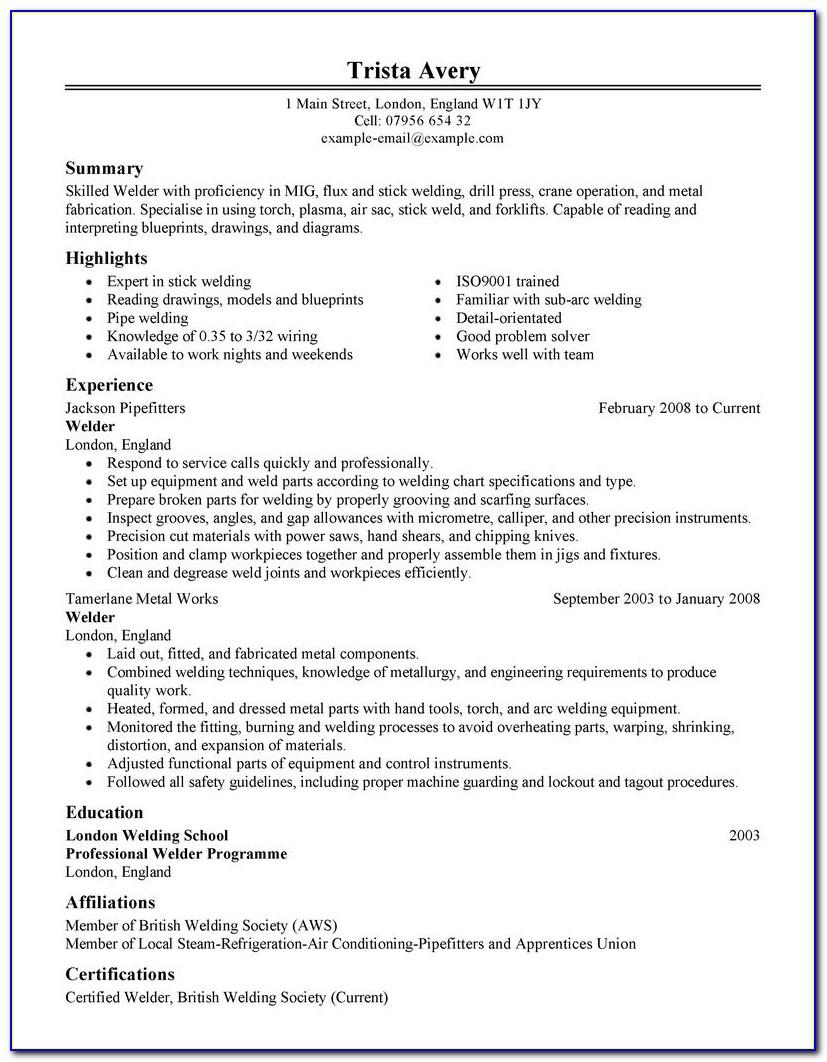 Pipe Welding Resume Examples