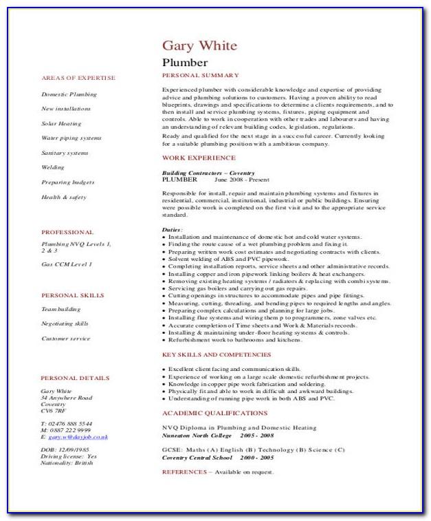 Plumber Resume Pdf