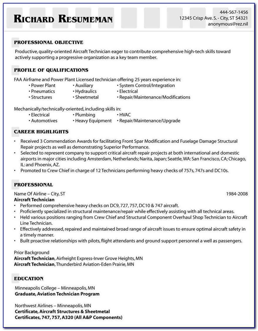 Job Winning Aircraft Technician Resume Template Example Resume For Aviation