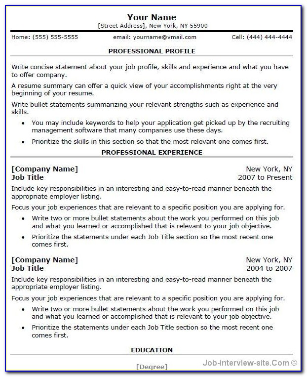 Professional Resume Format For Freshers