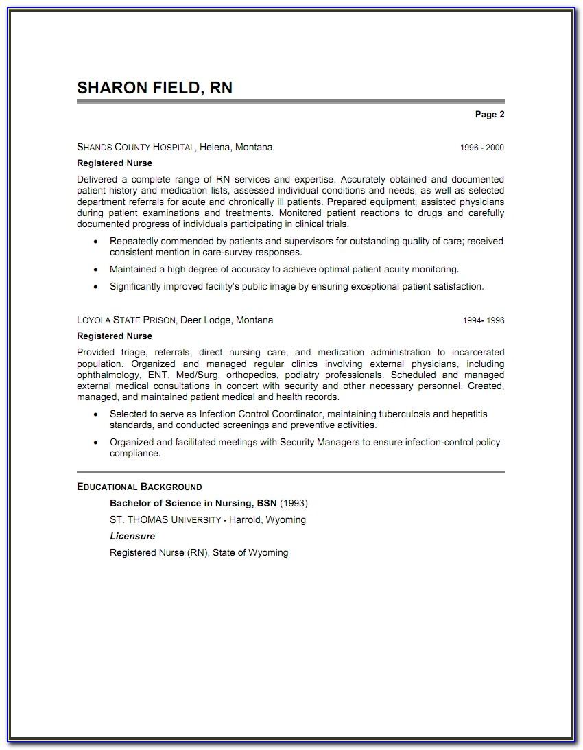 Professional Resumes For Nurses