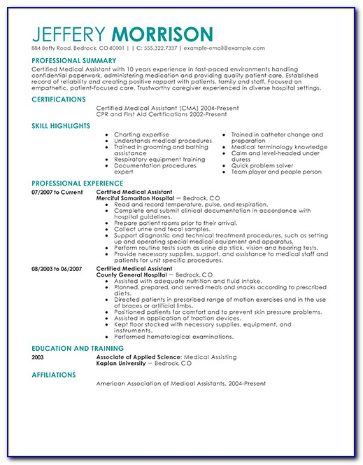 Professional Summary For Medical Assistant Resume