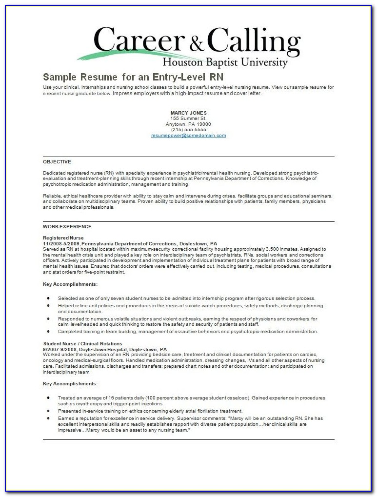 Psychiatric Nurse Resume Free Sample