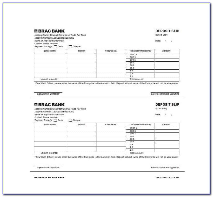 Quickbooks Deposit Slip Template Free