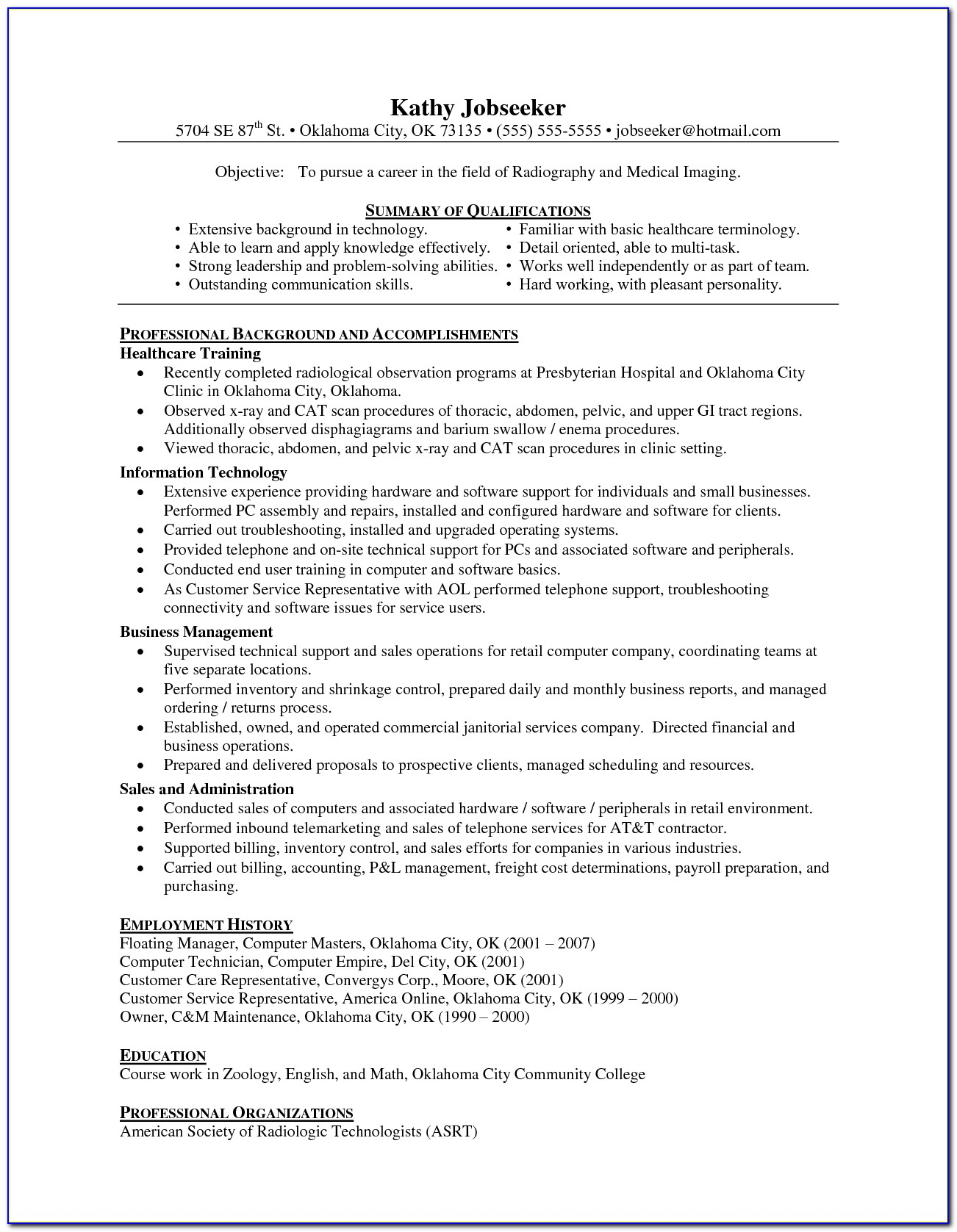 Radiology Manager Resume Templates