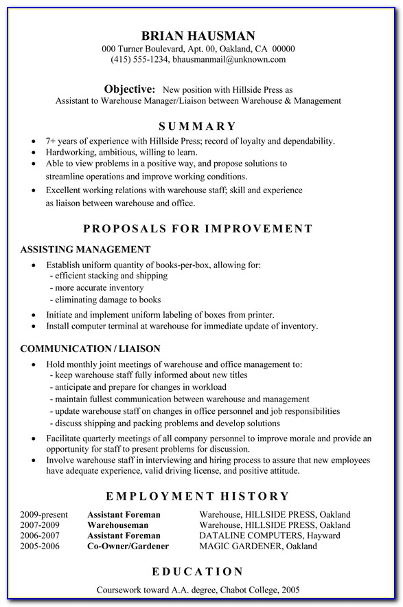 Functional Resume Sample Assistant To Warehouse Manager Ready Made Resume Ready Made Resume
