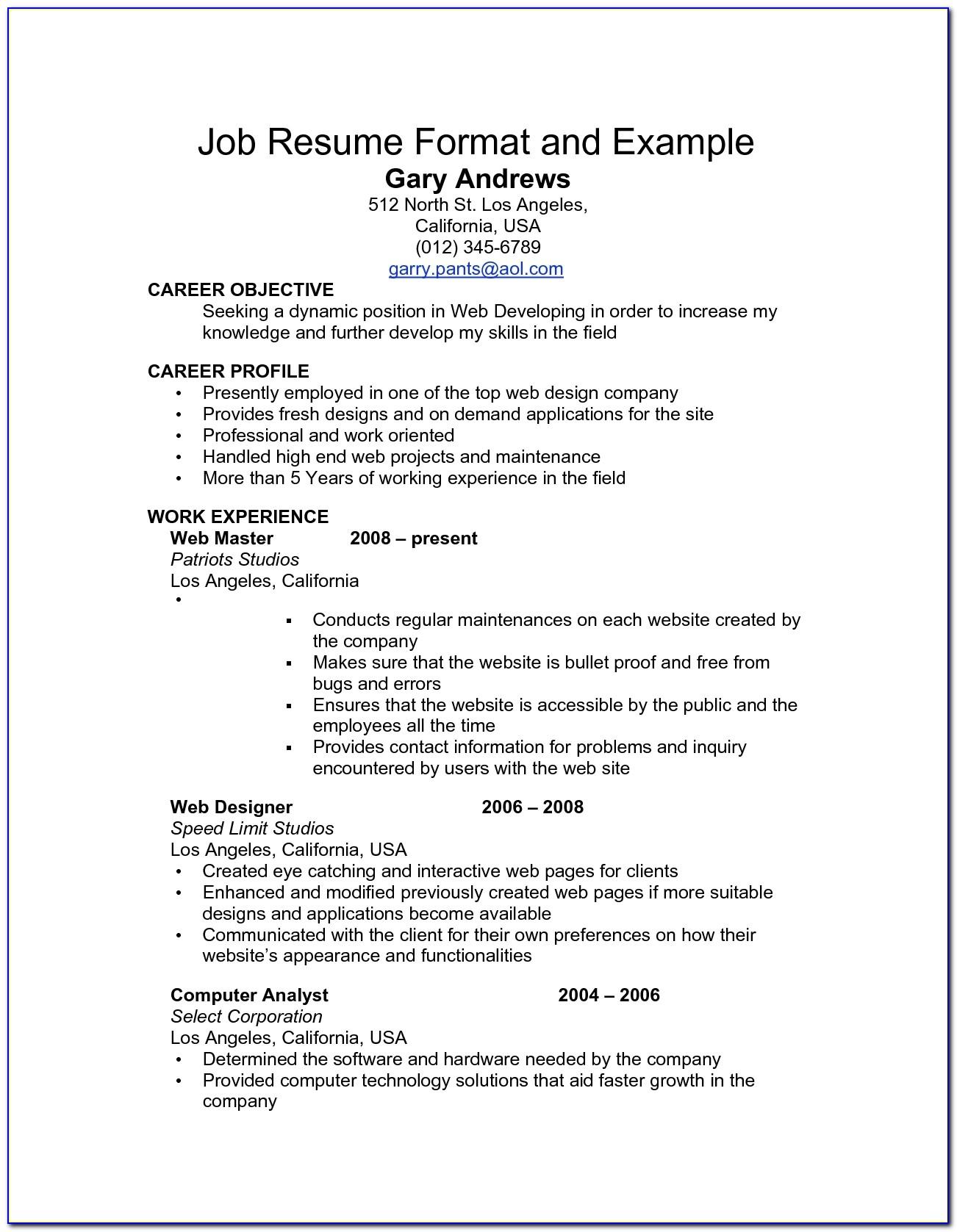 Readymade Resume For Teachers