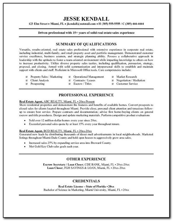 Real Estate Agent Resume Templates