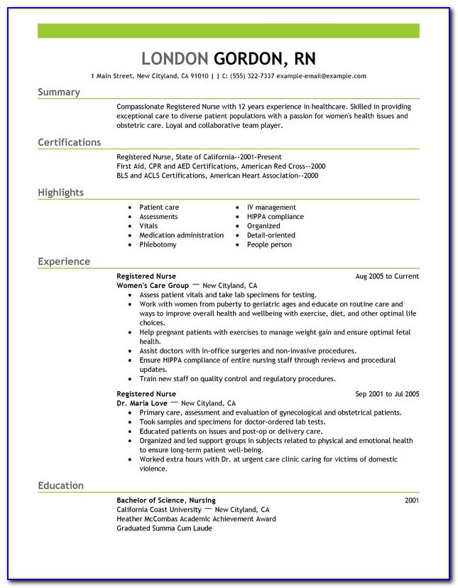 Registered Nurse Curriculum Vitae Template