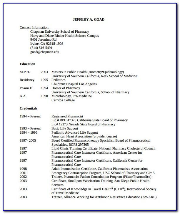 Registered Pharmacist Resume Pdf
