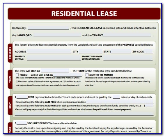Residential Lease Form Template