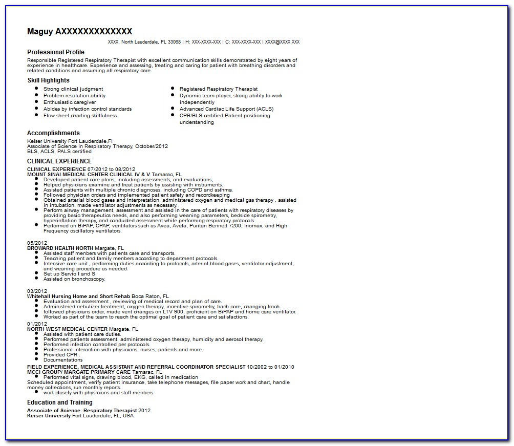 Respiratory Therapist Resume Objective Examples