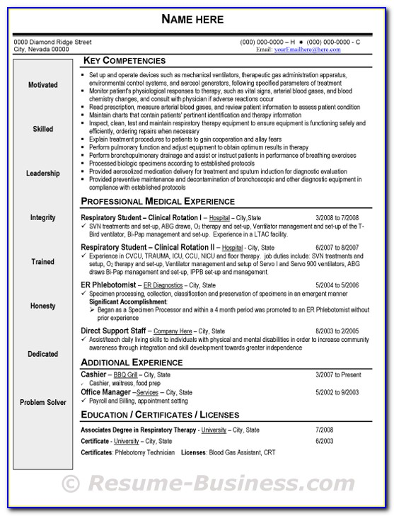 Respiratory Therapy Resume Template