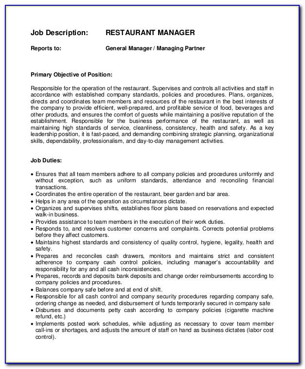 Restaurant General Manager Job Description Cv