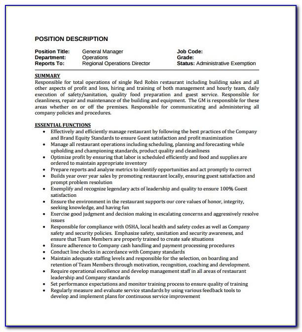 Restaurant General Manager Job Description Resume