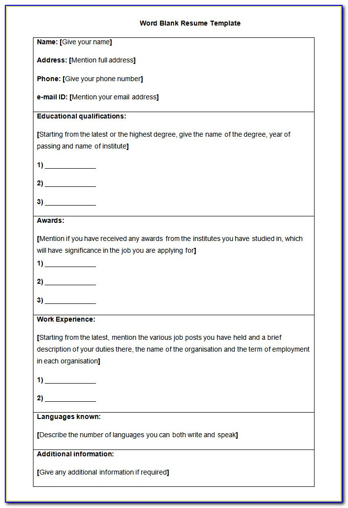 Resume Blank Format For Freshers