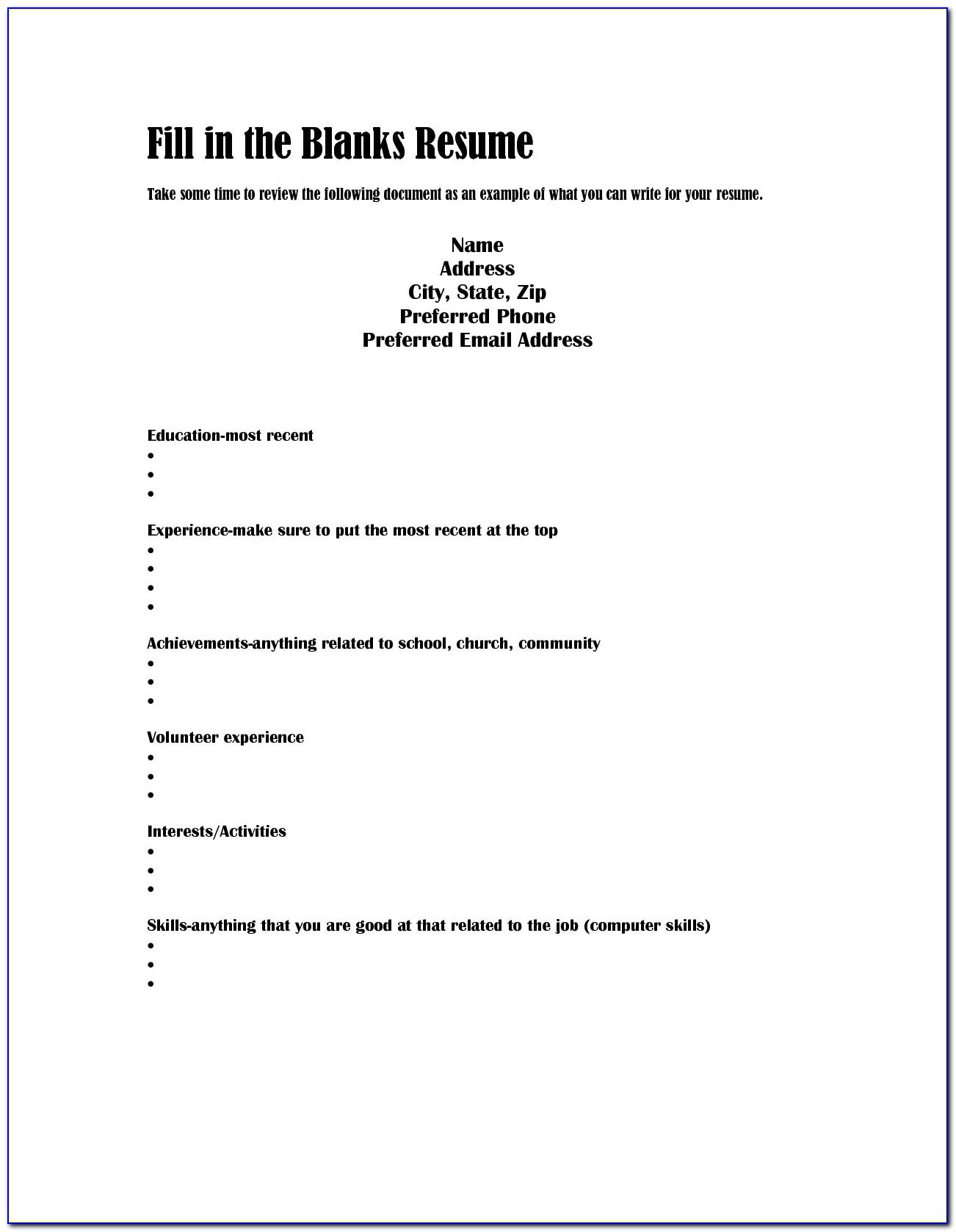 Resume Builder Fill In The Blanks