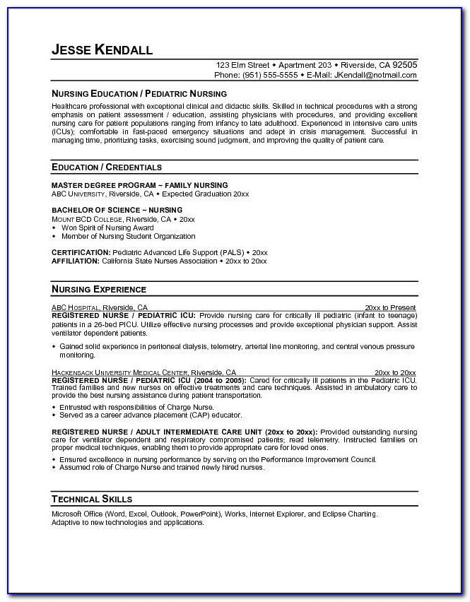 Resume Builder For Nursing Student