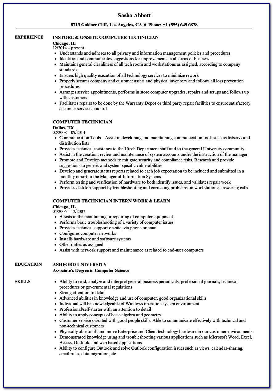 Resume Computer Technician Skills