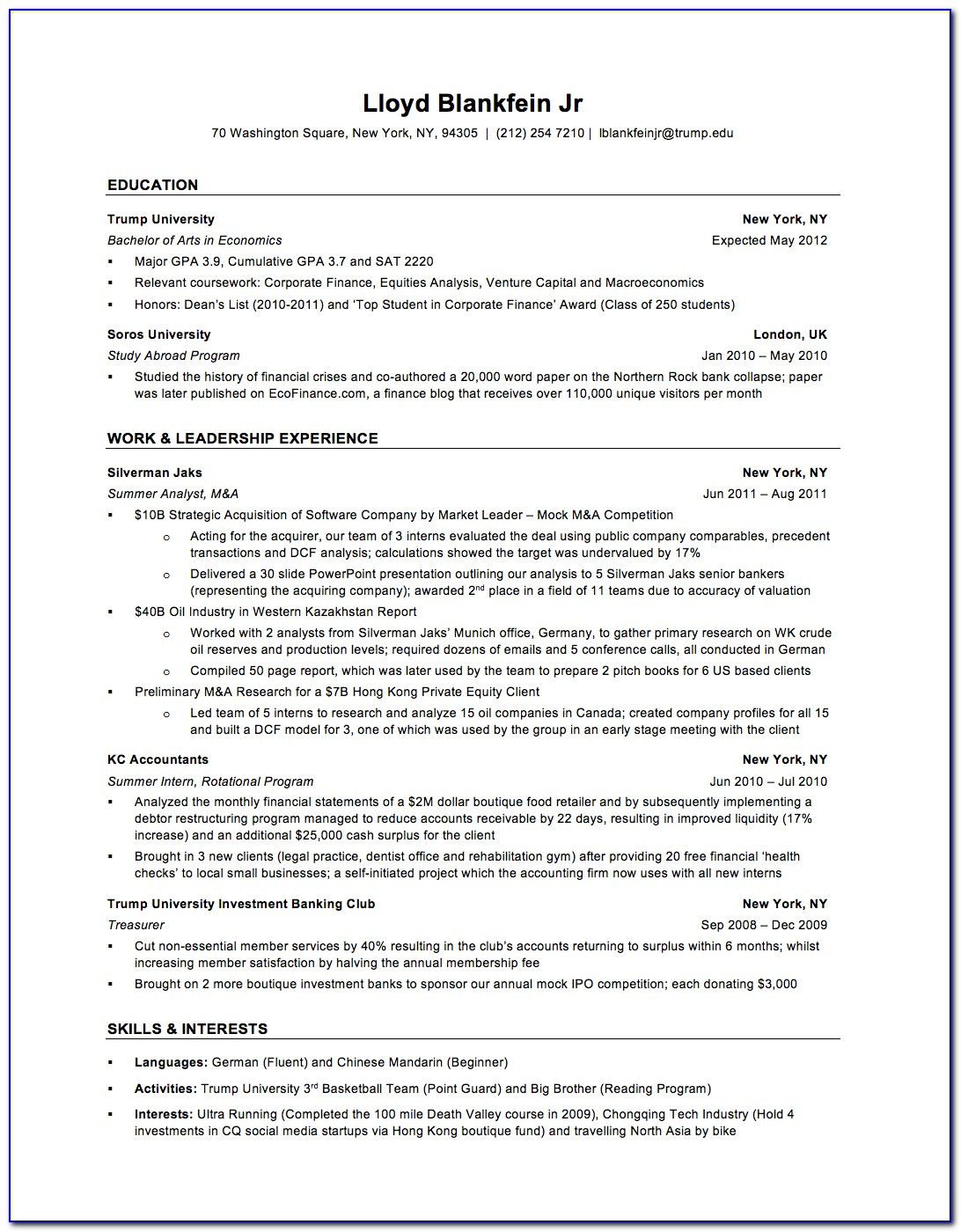 Resume Example For Banking Jobs
