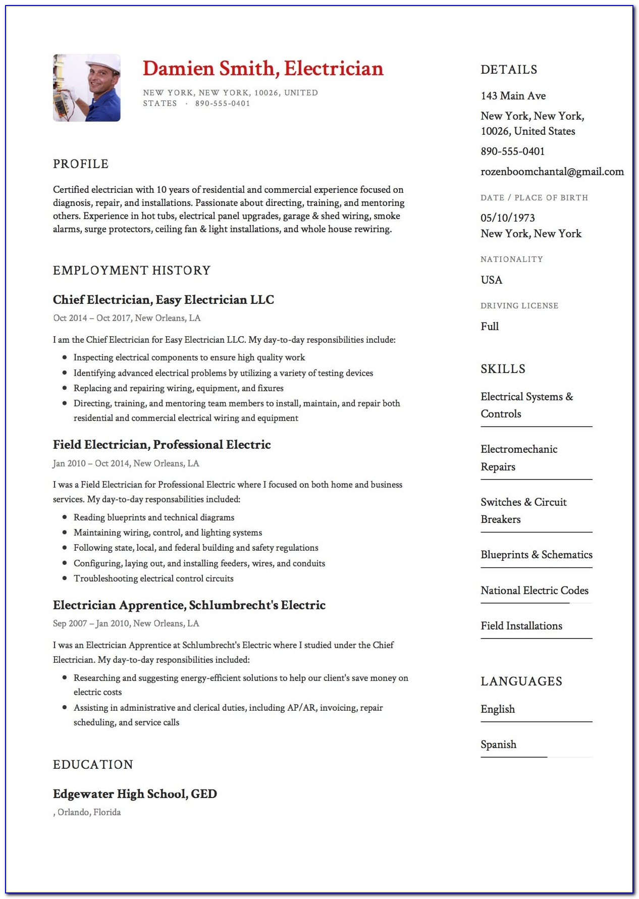 Resume Examples For Electricians Apprentice
