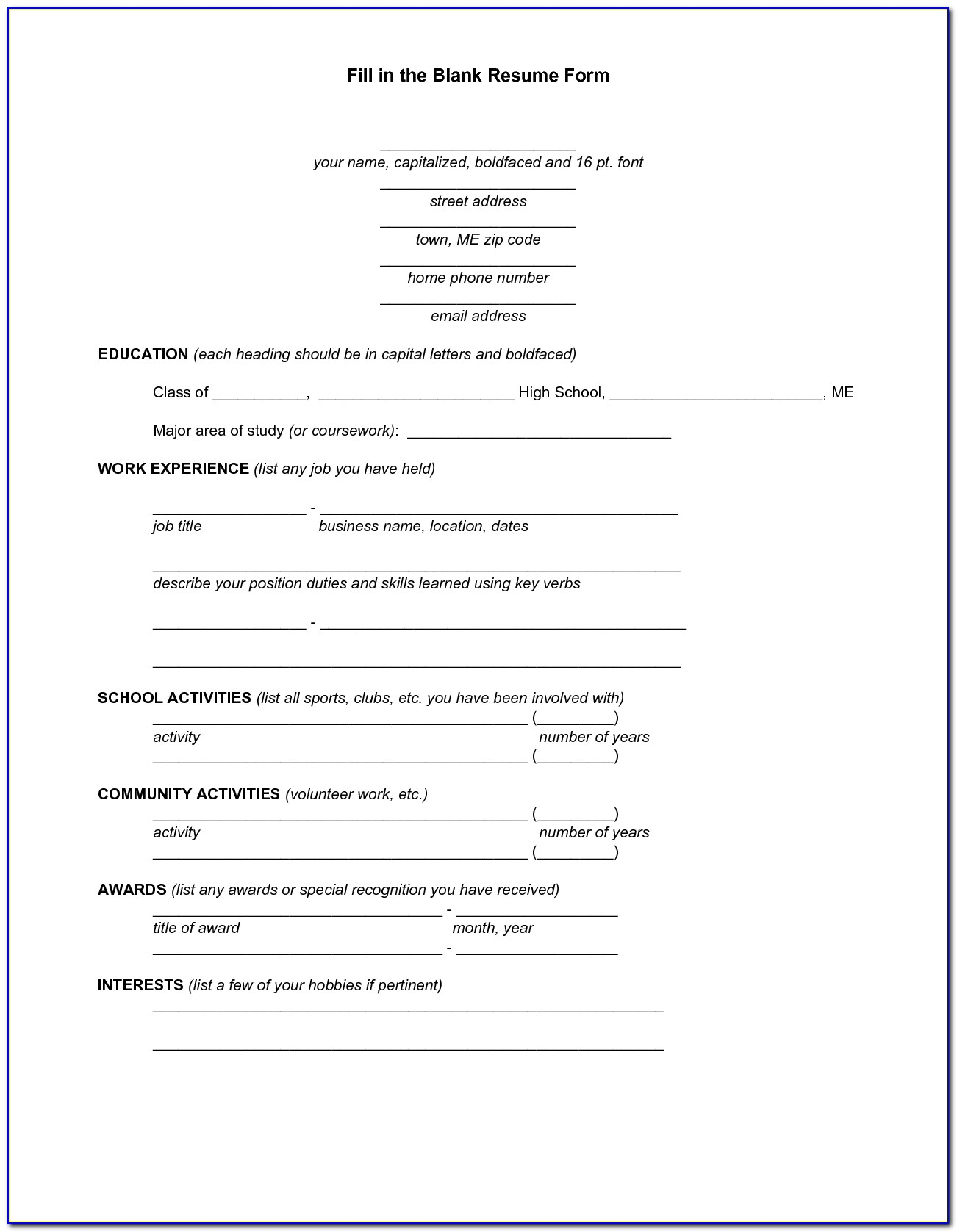 Resume Fill In The Blank