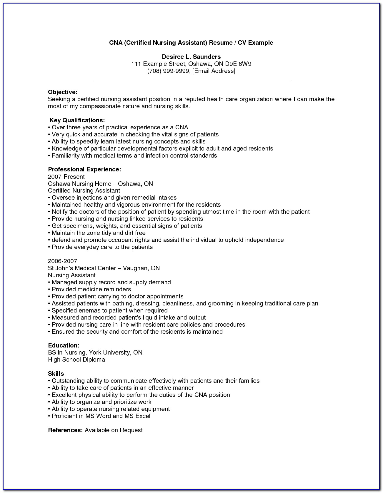 Sample Resume For Nursing Assistant With No Experience Cna Resume Pertaining To Cna Resume No Experience Template