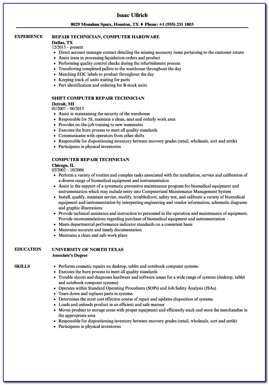 Resume For Computer Technician Fresh Graduate