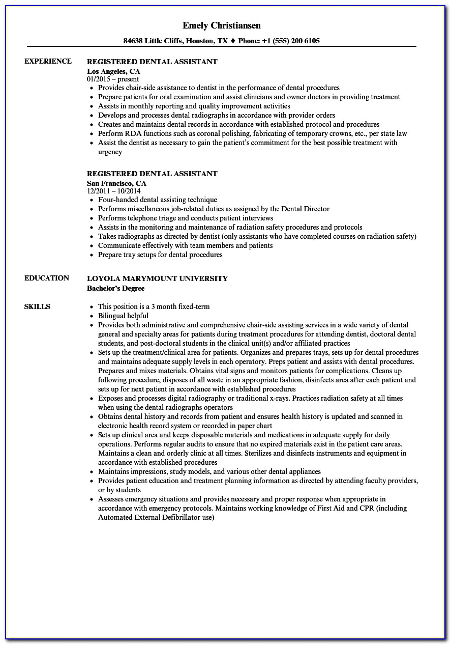 Resume For Dental Assistant Student