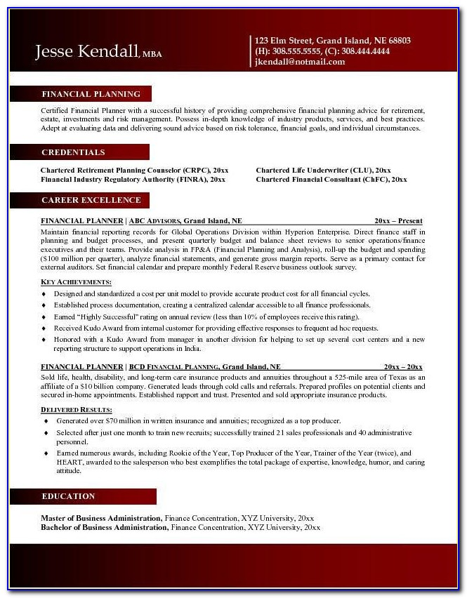 Resume For Financial Advisor Assistant