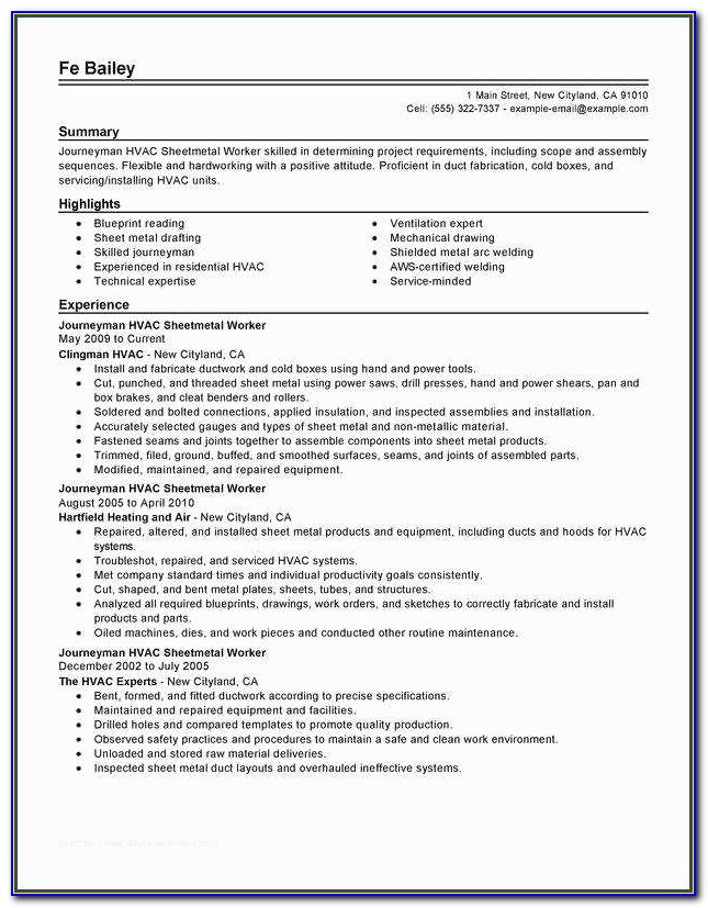Hvac Resume And Journeymen Hvac Sheetmetal Workers Resume Examples ? Free