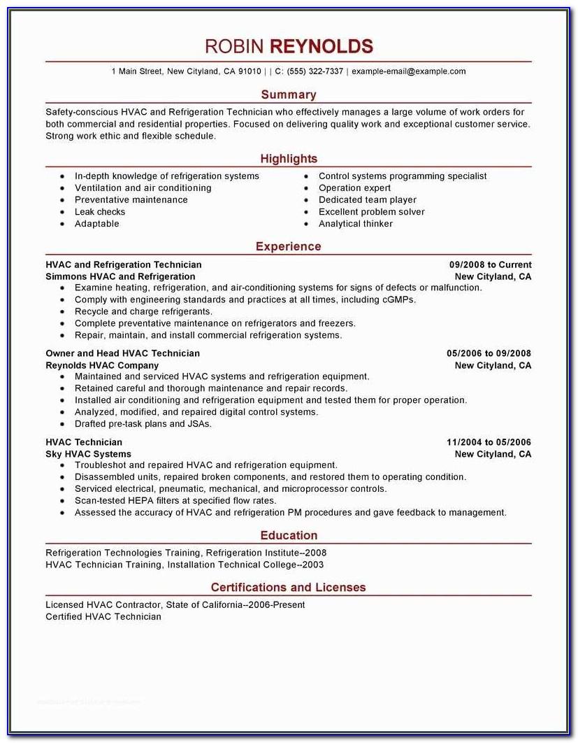 Hvac Resume And Best Hvac And Refrigeration Resume Example