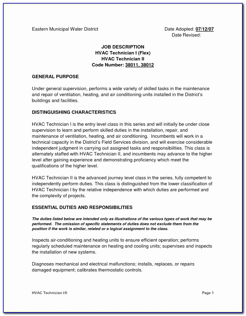 For Sample Resume For Hvac Technician