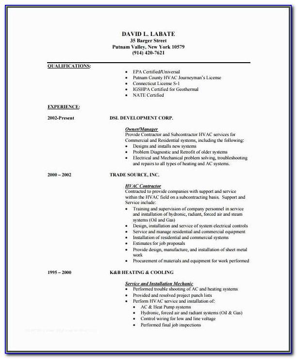 Hvac Resume And Hvac Resume Sample
