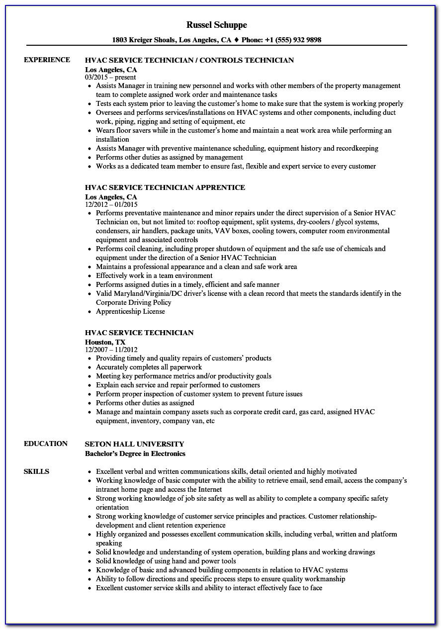 Resume For Hvac Service Technician