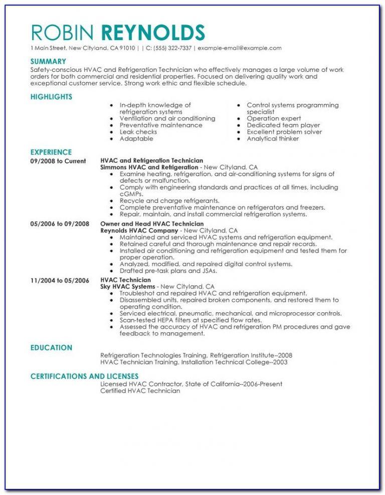 resume for hvac supervisor  resume  resume examples