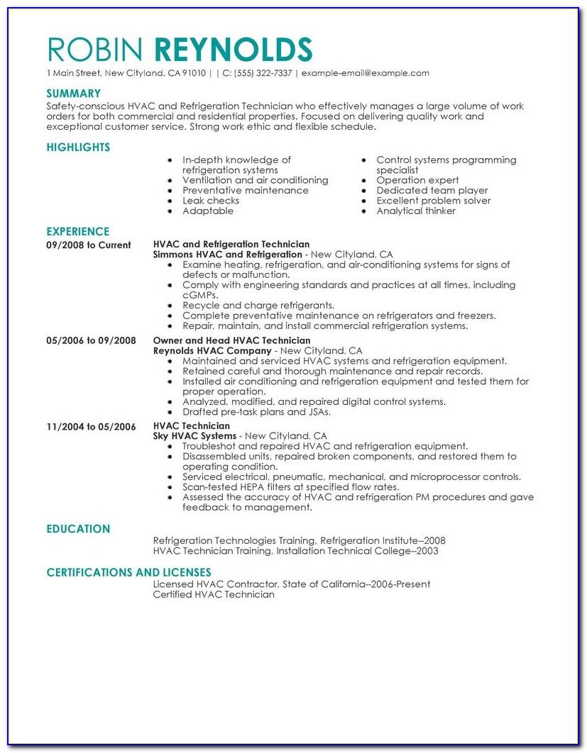 Resume For Hvac Supervisor