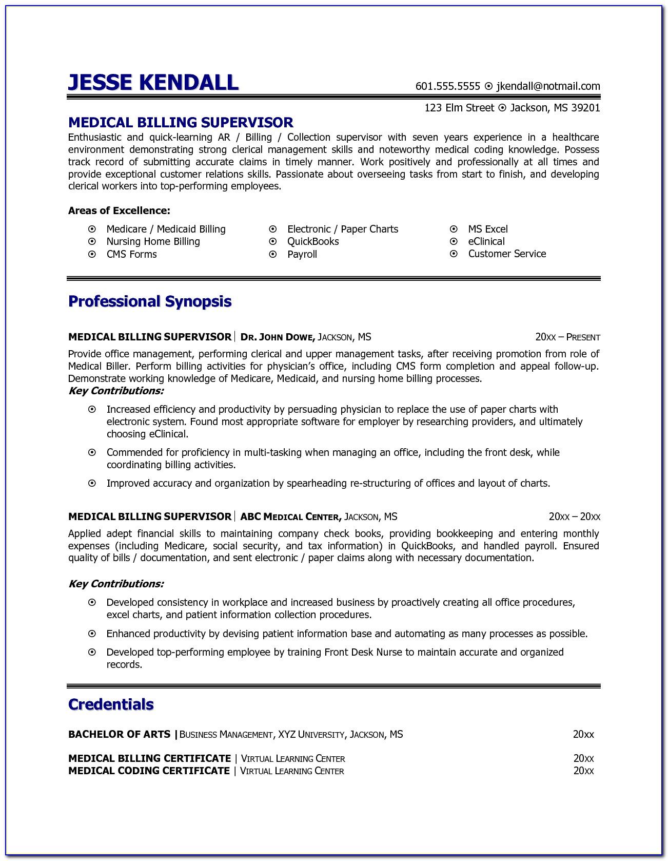 Resume For Medical Biller And Coder