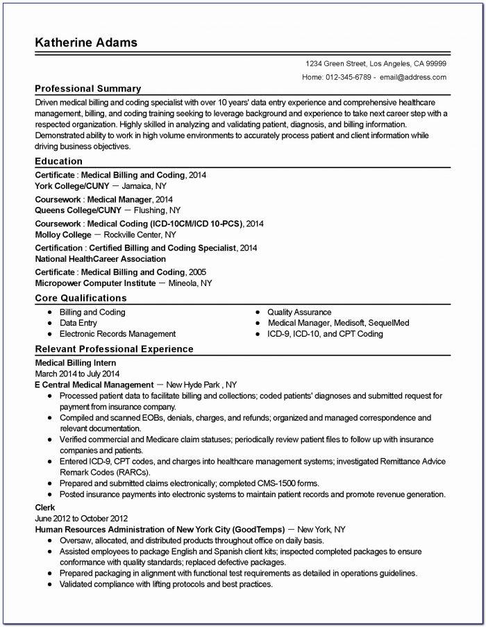 Resume For Medical Billing Job