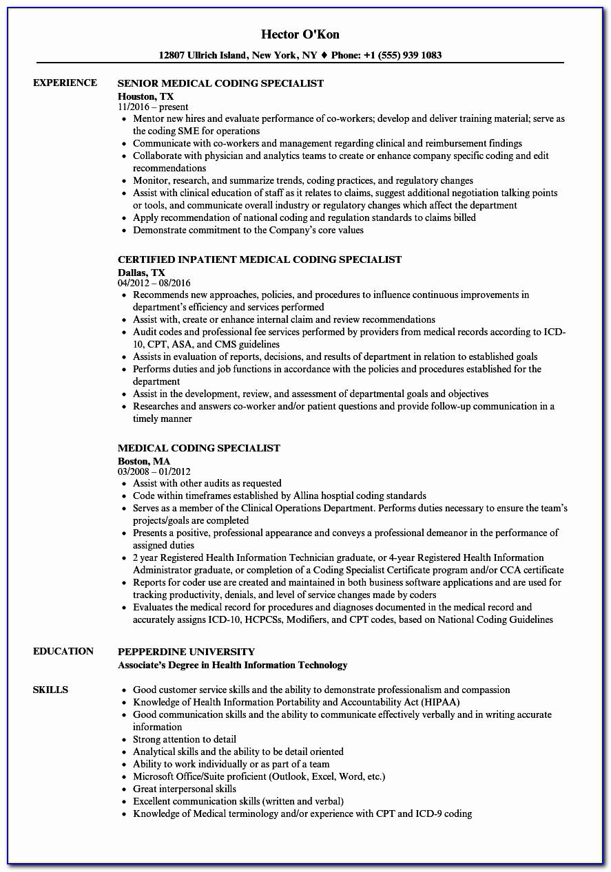 Resume For Medical Billing Specialist