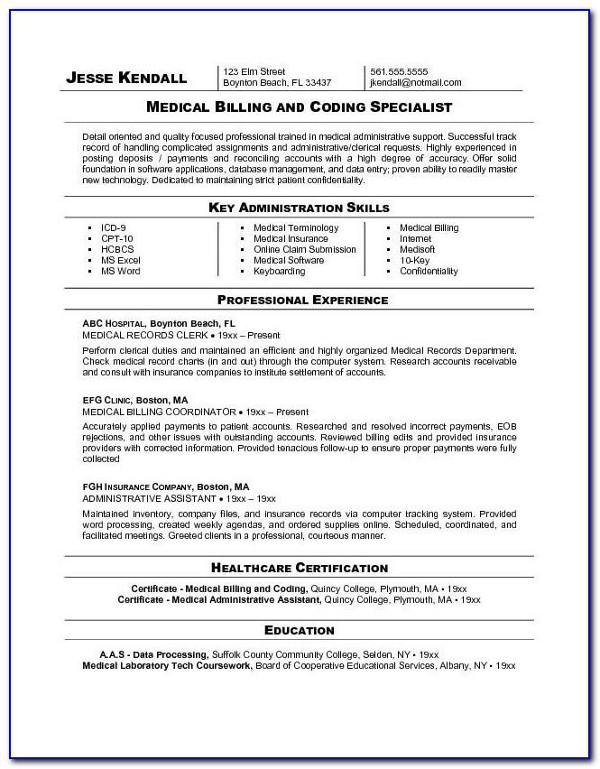 Resume For Medical Coder And Biller