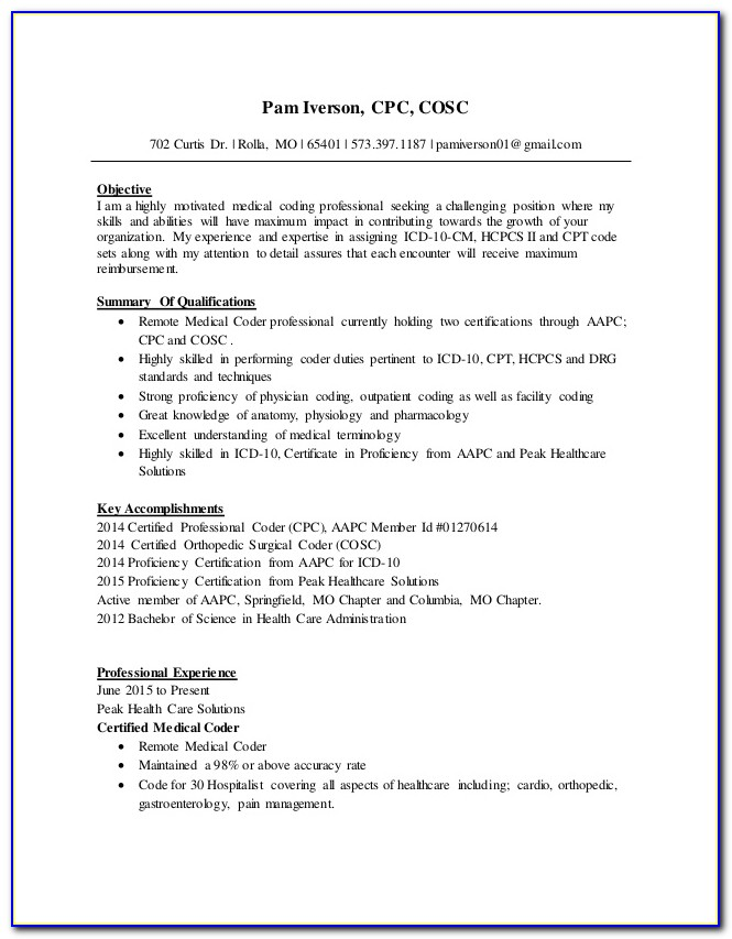Resume For Medical Coder With No Experience