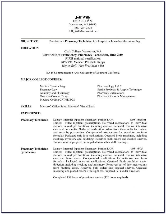 Resume For Pharmacy Technician Externship