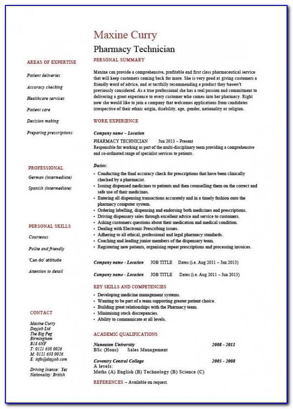 Resume For Pharmacy Technician Students