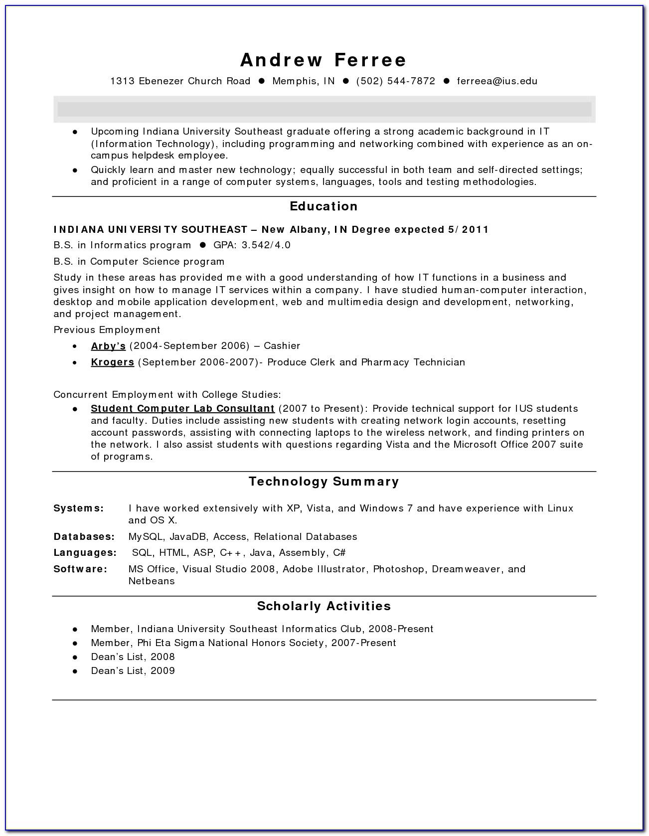 Resume For Pharmacy Technician Trainee