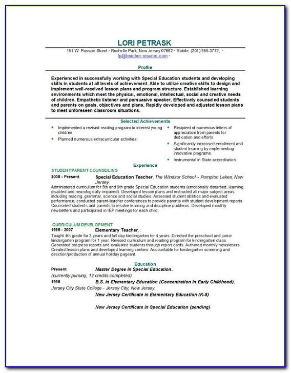 Resume For Teacher Template