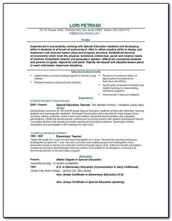 Resume For Teacher Template