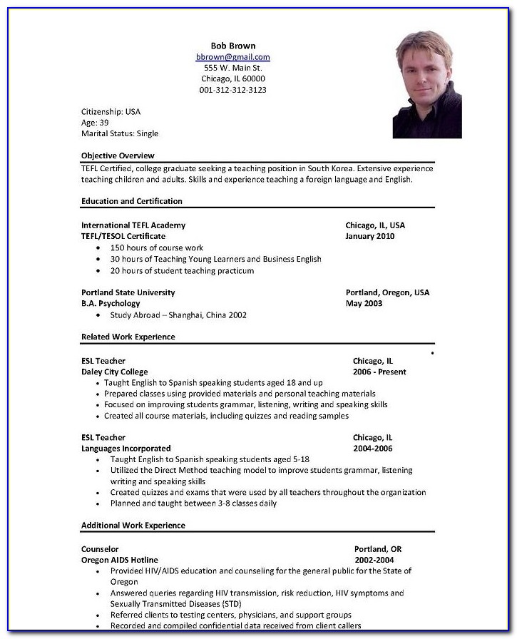 Resume For Teachers With No Experience Examples